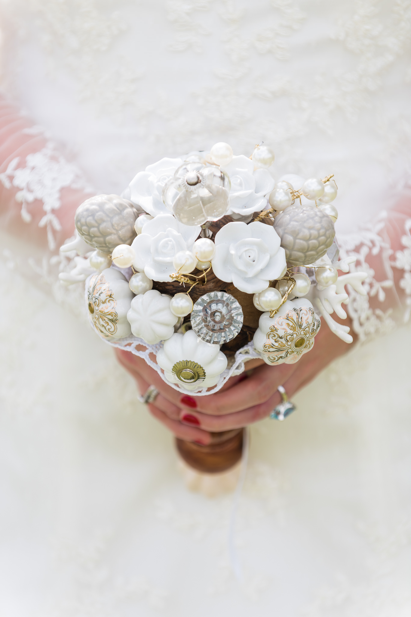 A bouquet made from door knobs and pepper grinders