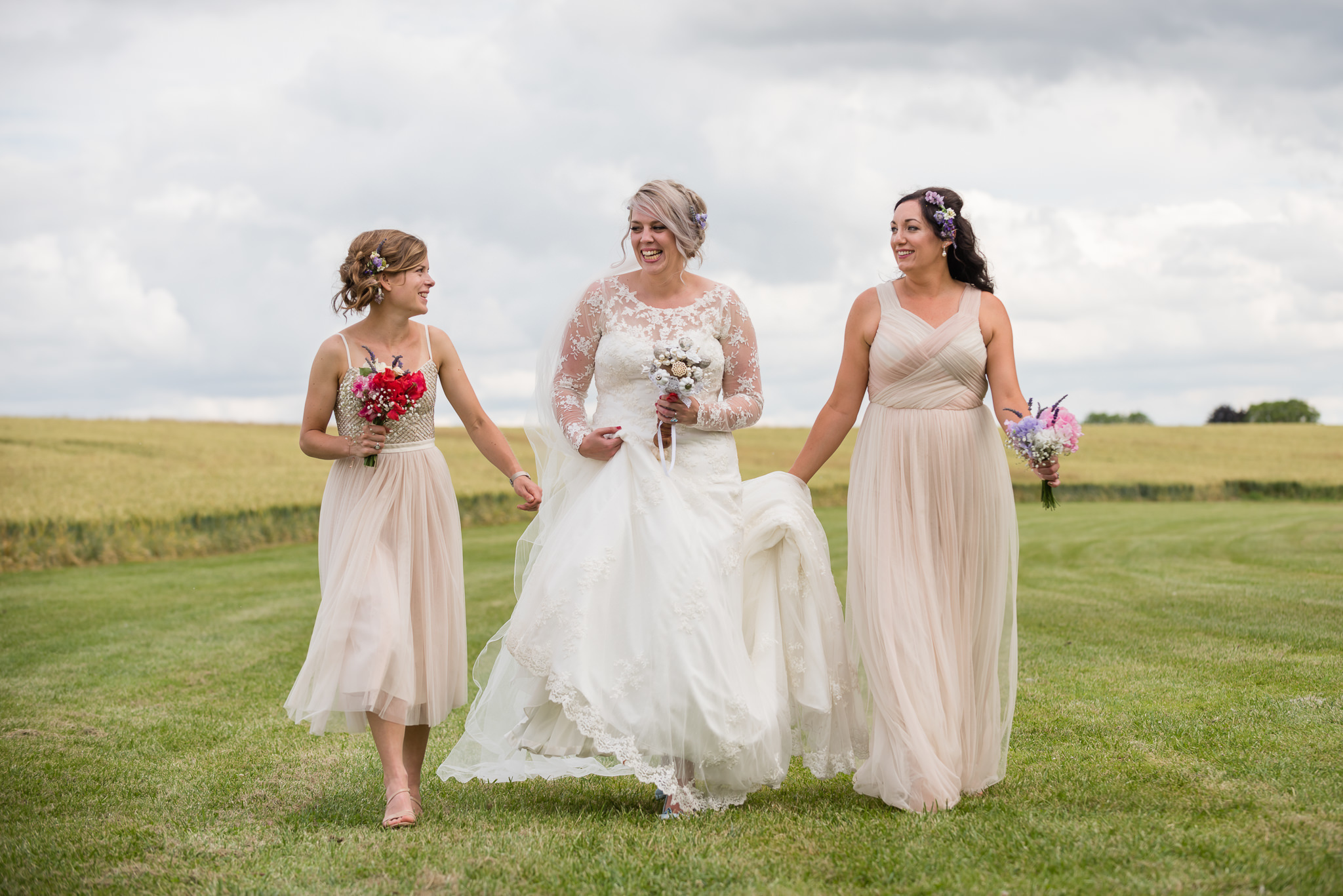 Tipi wedding photography - The bride and two of her bridesmaids