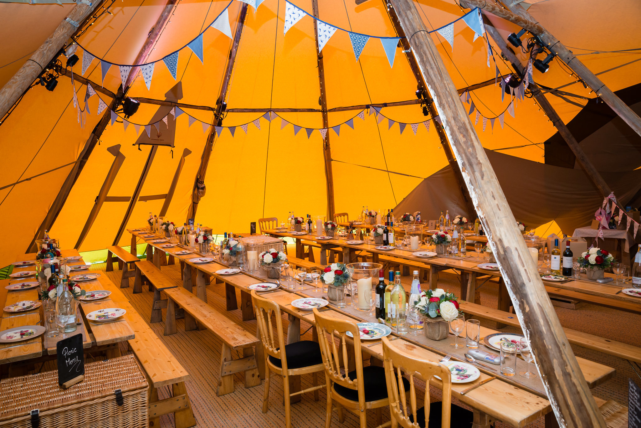 Inside the tipi at Woodoaks Farm in Rickmansworth, Hertfordshire