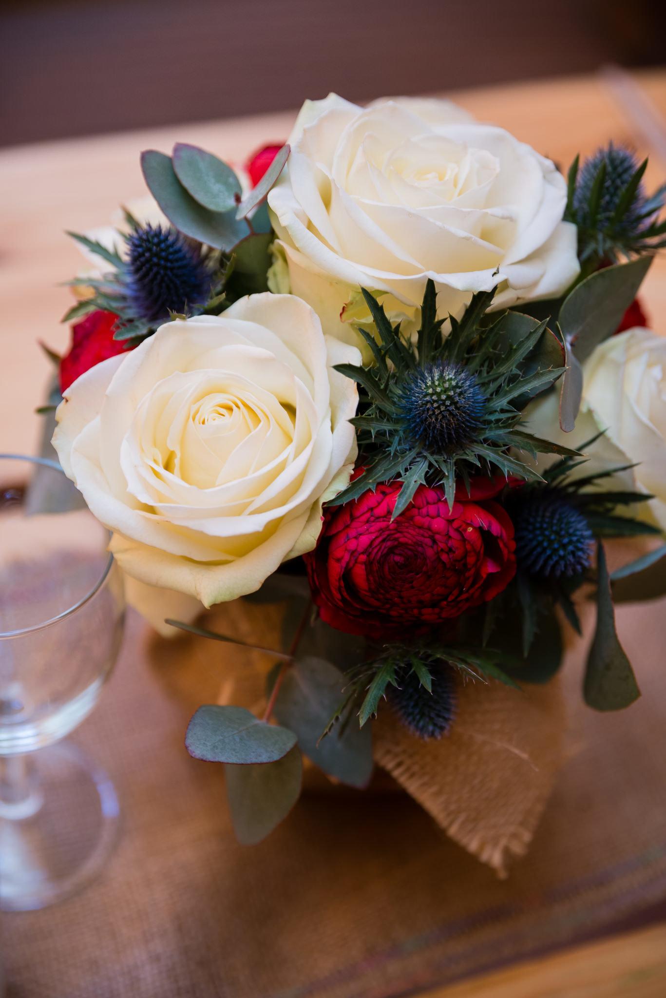 Wedding flowers at the tipi wedding