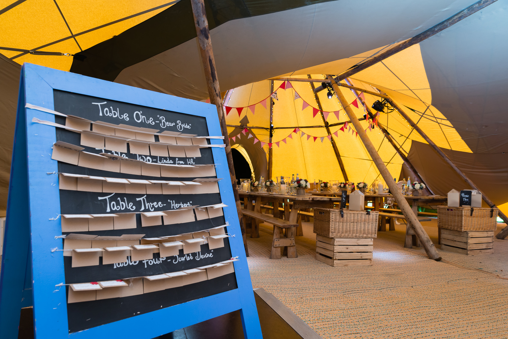 Table plan for the tipi wedding