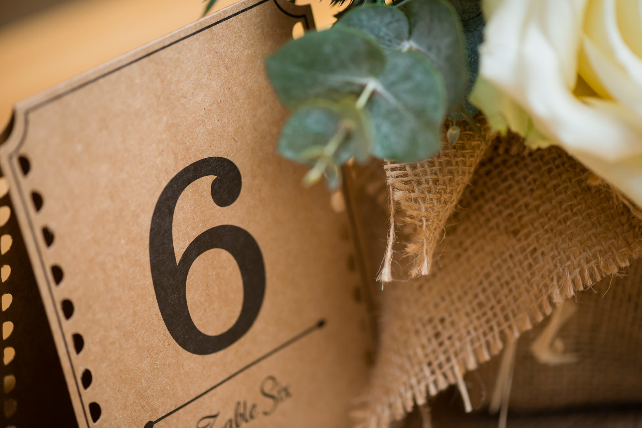 Table numbers at the tipi wedding