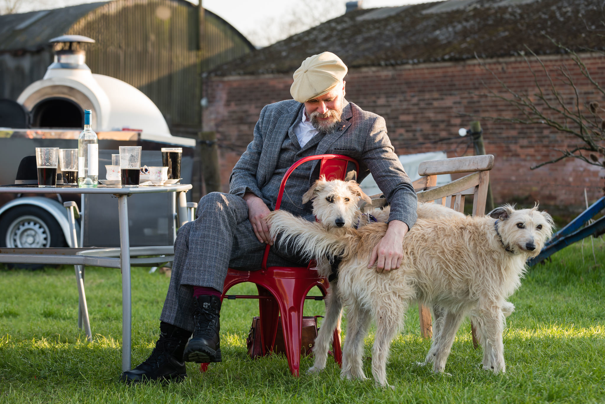 Wedding guest and his dog