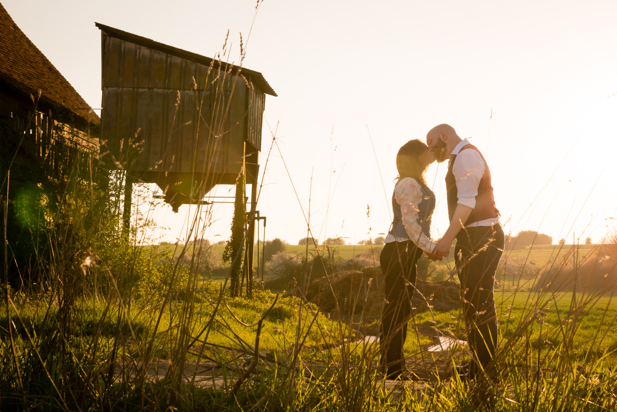 A portrait of the bride and groom at Woodoaks Farm in Rickmansworth