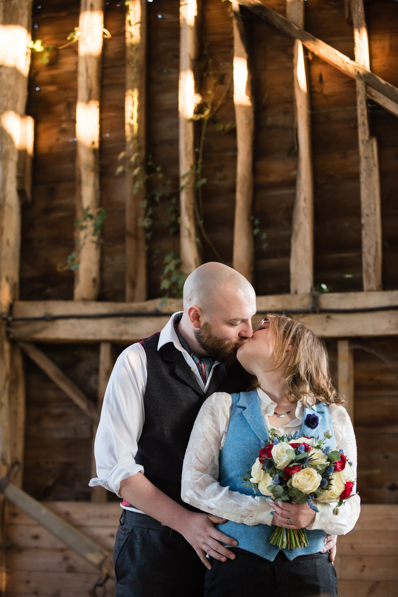 A portrait of the bride and groom at Woodoaks Farm