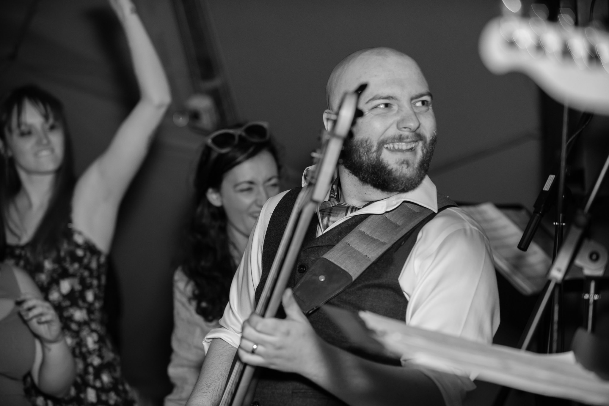The groom performs during his tipi wedding reception