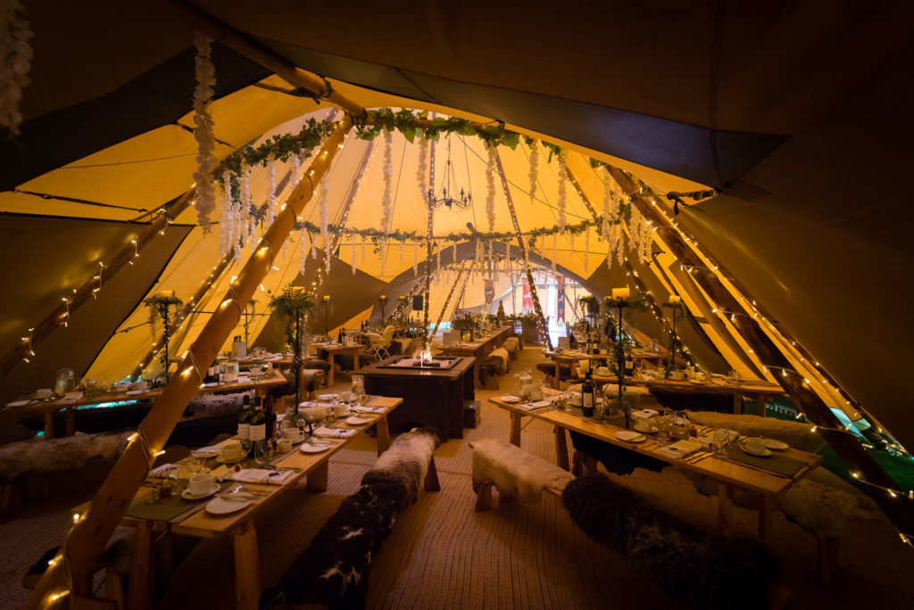 The inside of a Country Tipis wedding tipi