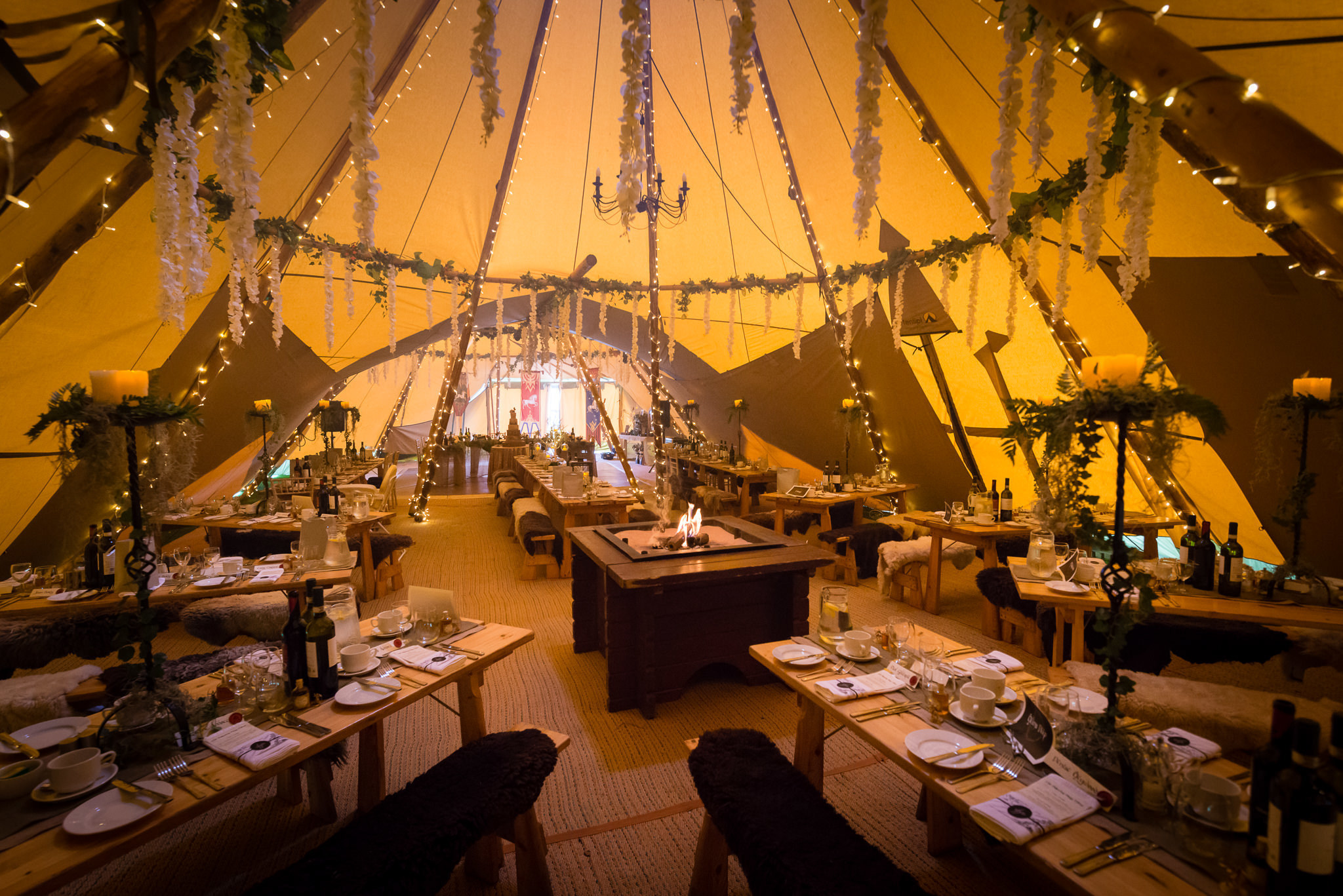 The inside of the tipi