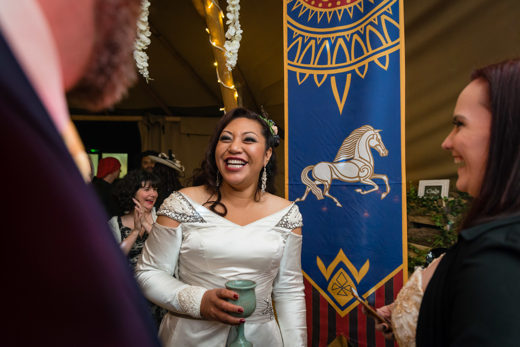 The Bride during her tipi wedding reception