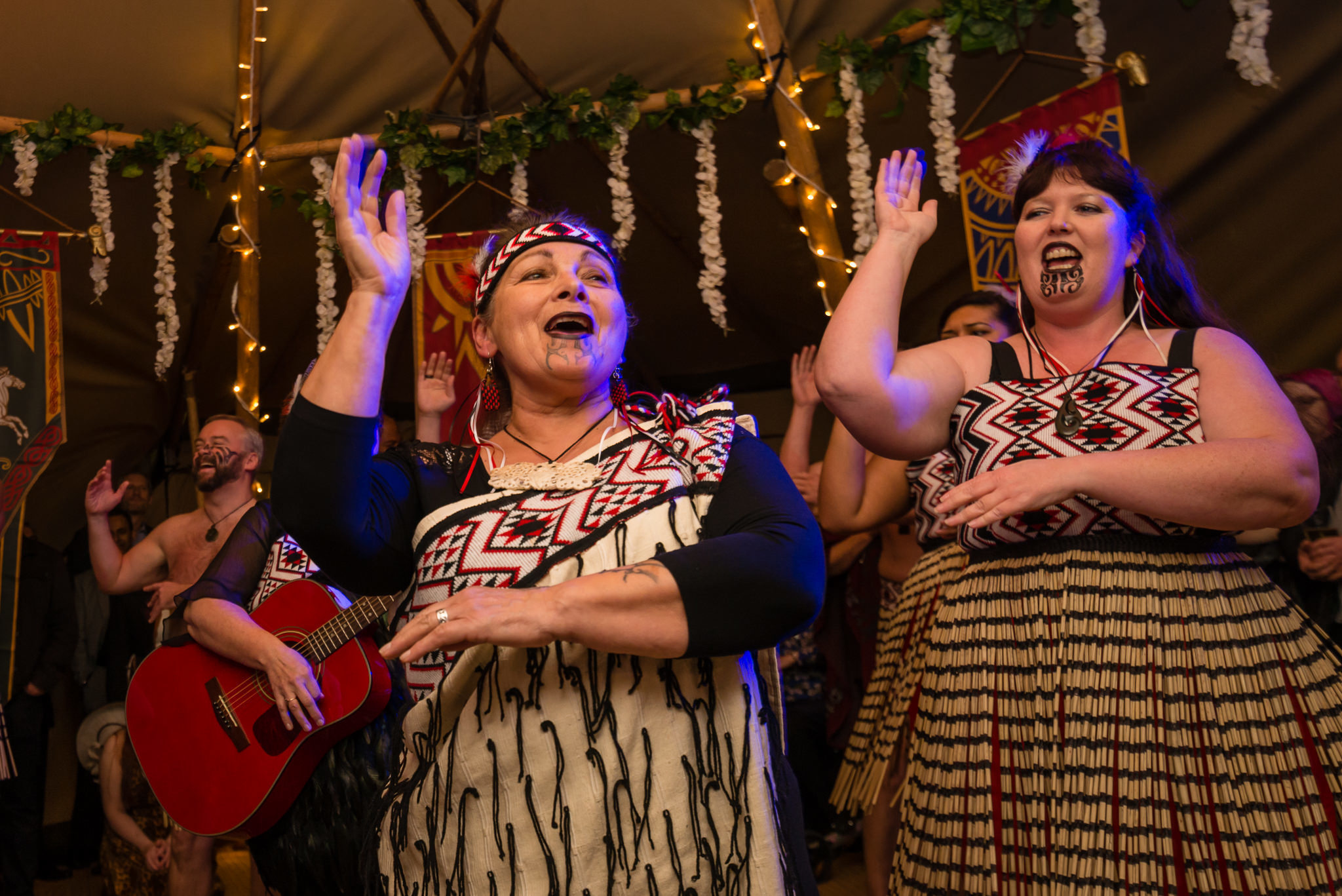 A performance from the Ngati Ranana, Maori Club at the Tipi wedding reception