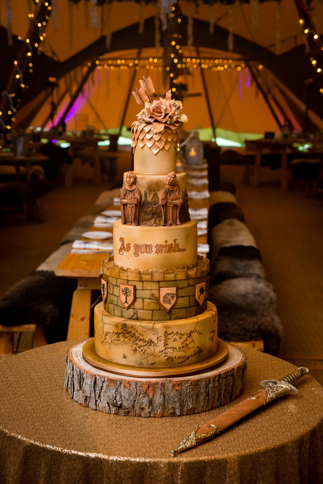 A Lord of the Rings and Game of Thrones themed wedding cake