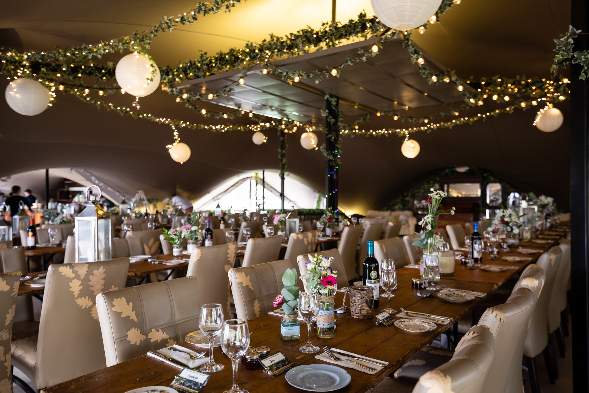 The stretch tent decorated for wedding breakfast