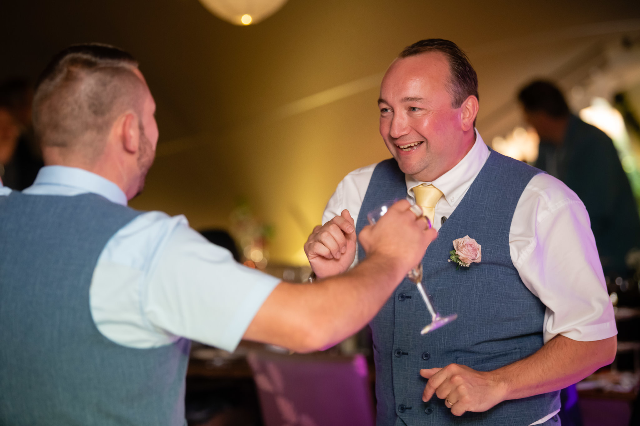 The groom dancing