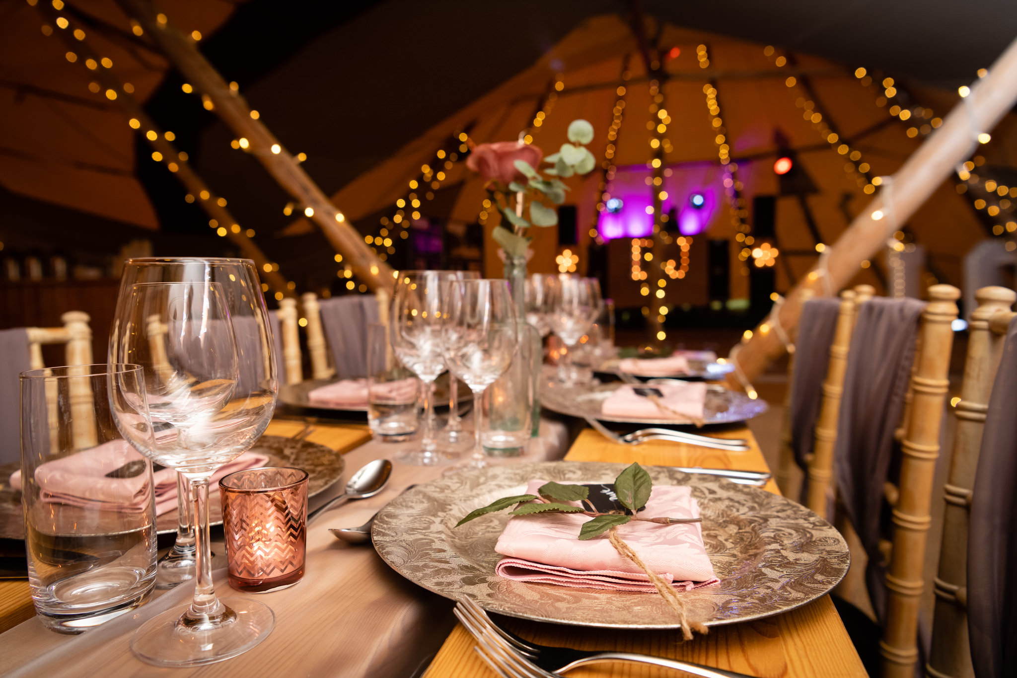 Tipis decorated for a wedding open day at Rothamsted Manor