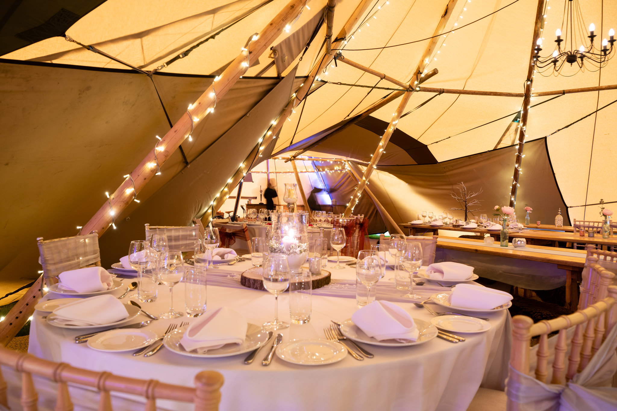 Teepees decorated for a wedding open day at Rothamsted Manor