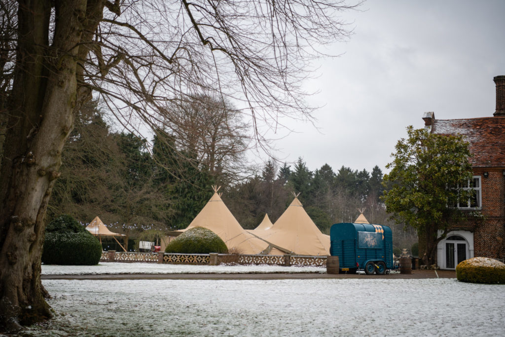 Tipi at a winter wedding
