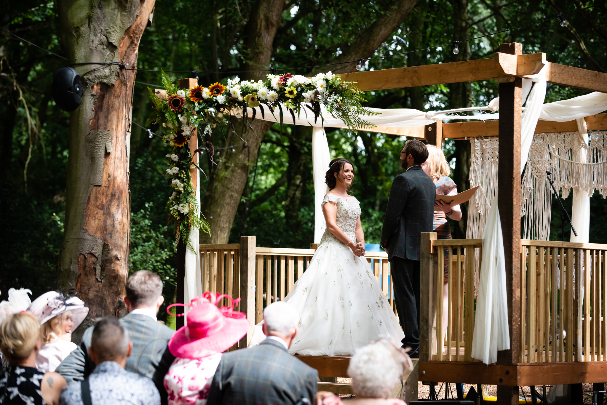 Outdoor wedding ceremony at Lila's wood in Tring