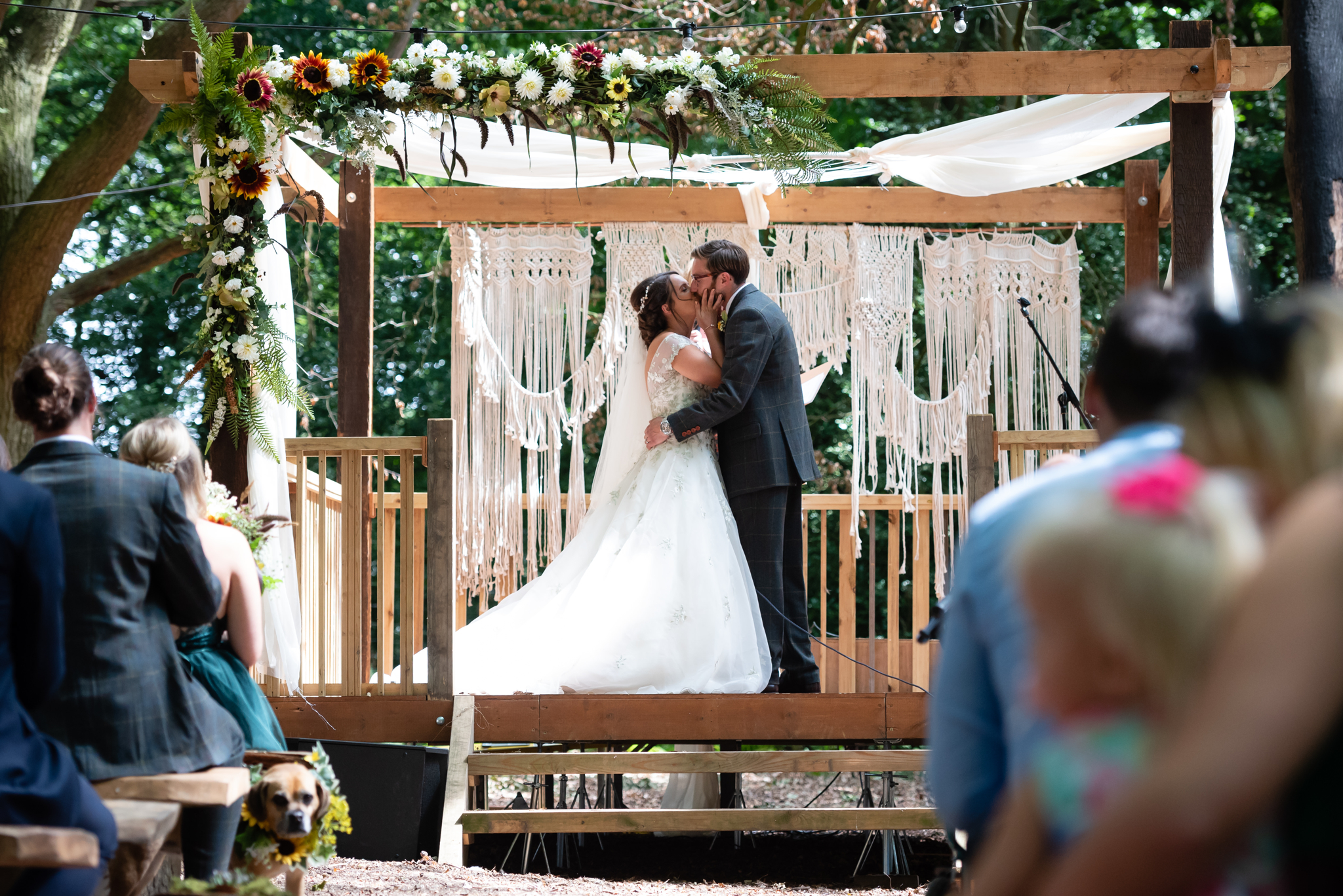The first kiss at the Woodland wedding