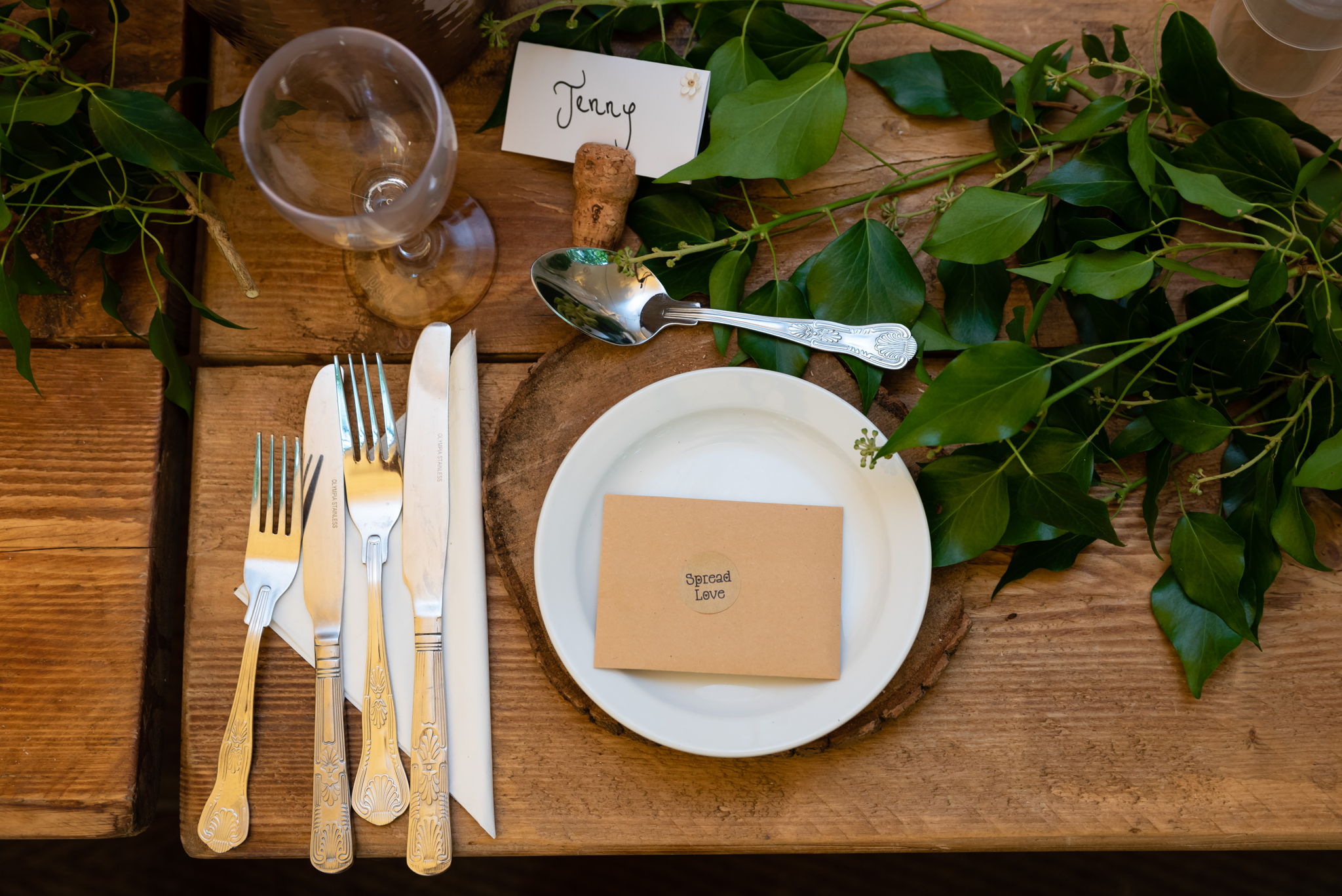 Table place settings at Lila's Wood