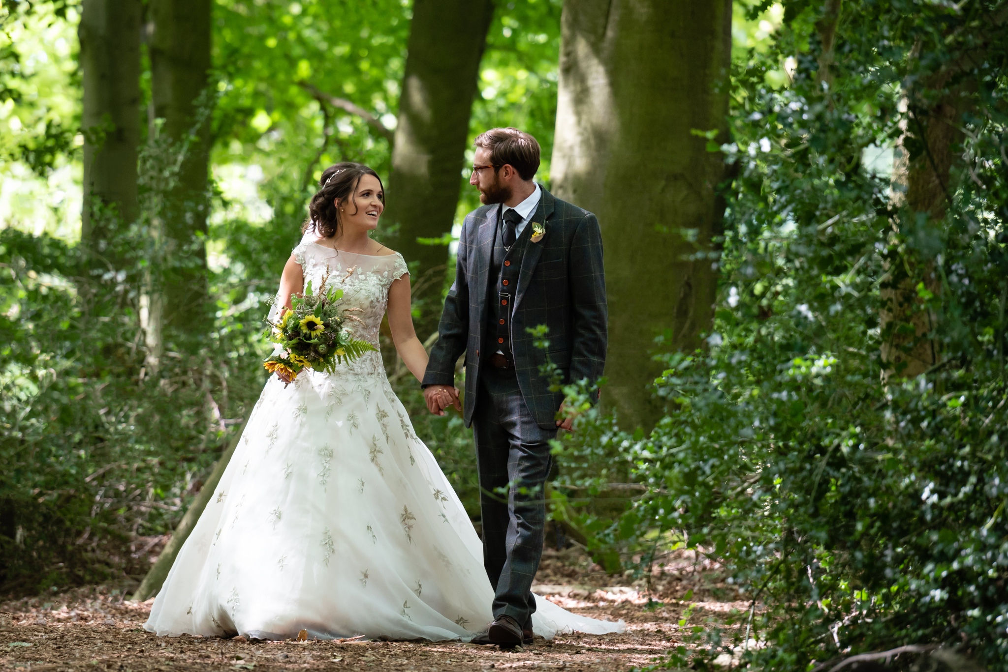 The bride and groom at their woodland wedding in Tring