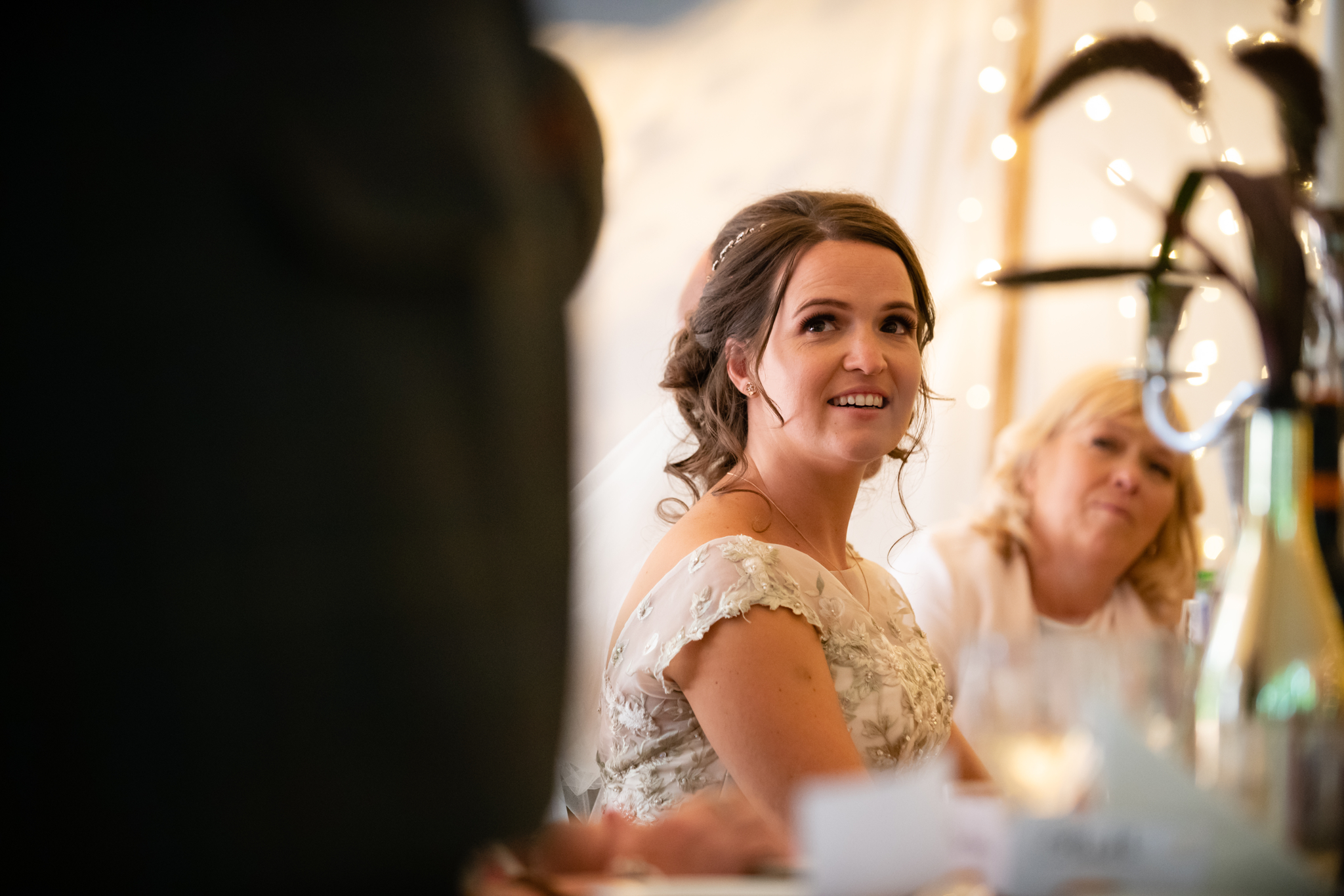 The bride during the speeches