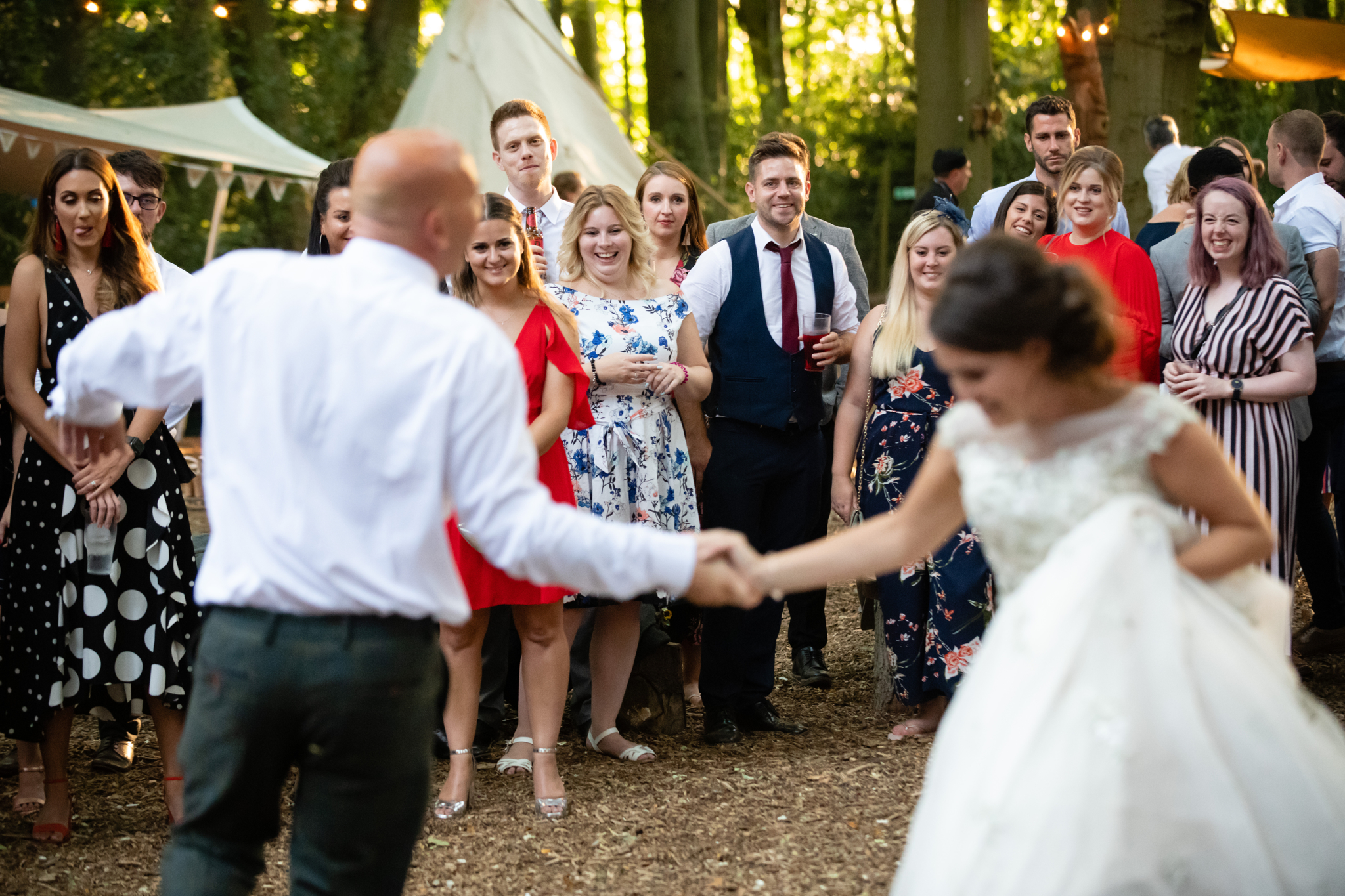 The bride and her father dance at Woodland Weddings