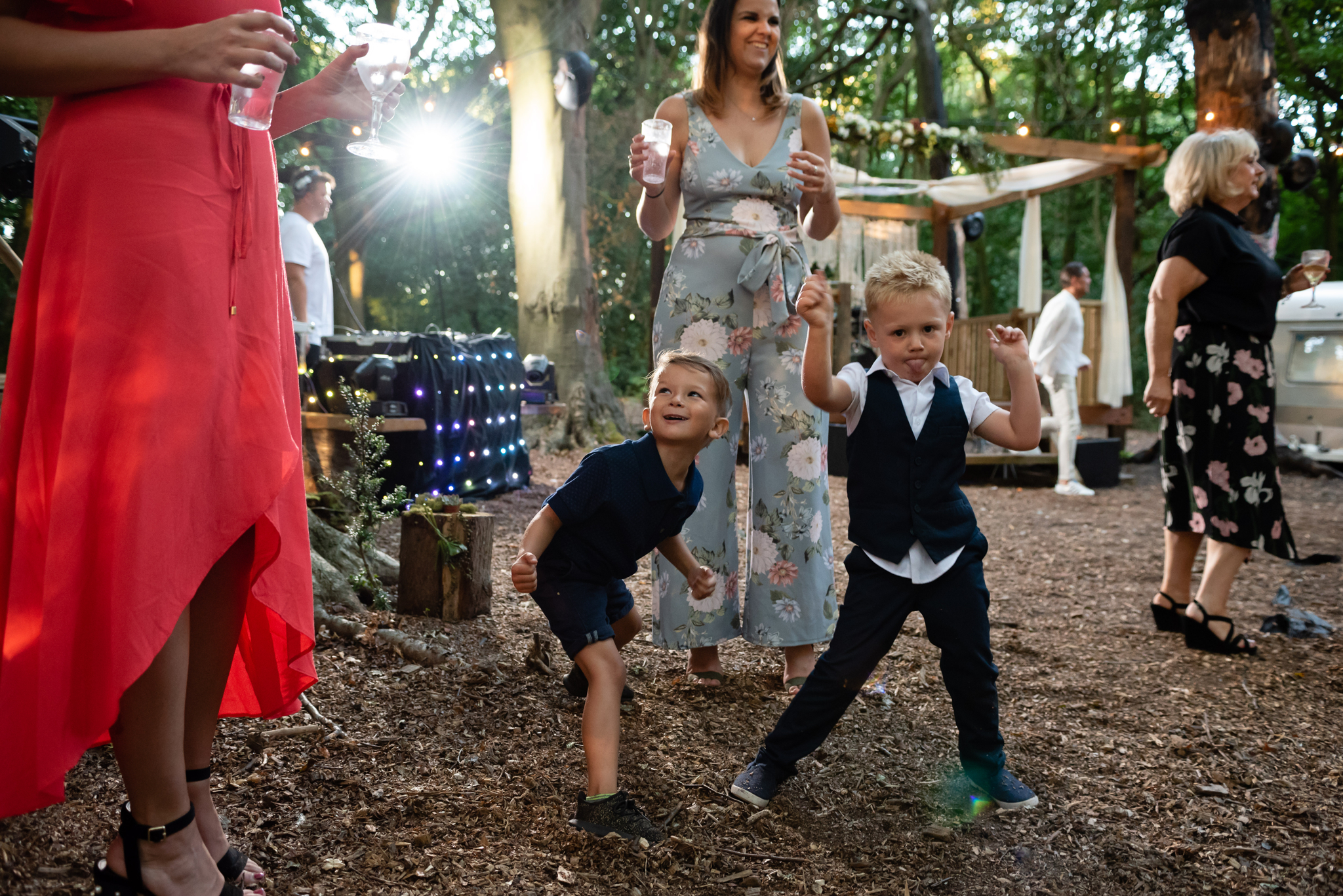 Boys dancing at Woodland Weddings